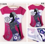 [Preorder] เสื้อยืดแฟชั่นแขนสั้นสกรีนลายผู้หญิงชิค ชิค 2014 summer new Korean wild Slim round neck short sleeve T-shirt female micro loose big yards cute girls shirt