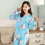 [Preorder] ชุดนอนแฟชั่น Hello Kitty เสื้อแขนยาวกางเกงขายาว สีฟ้า (ไซส์ M L XL) hellokitty cat pajamas female summer cartoon hello kitty cotton short-sleeved suit tracksuit woman
