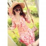 [Preorder] เดรสแฟชั่นแขนสามส่วนลายดอกไม้ สีชมพูสดใส 2013 summer new ladies wind sweet princess fifth sleeve pullover sowing shoulder floral dress skirt