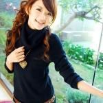 [Preorder] เสื้อกันหนาวแขนยาวคอสูงสีดำ Trifle collar long-sleeved the warm sweater