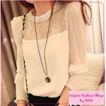 [Preorder] เสื้อแฟชั่นแขนยาวประดับลูกไม้ช่วงบน สีขาว the autumn of 2012 the new palace retro stand-up collar lace princess chiffon shirt color