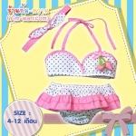 YW292-74- ชมพูจุดเล็ก ชุดว่ายน้ำเด็กเล็ก size 4 - 12 เดือน น้ำหนัก 9-12 กก. ชุดว่ายน้ำเด็ก (มีผ้าคาดผมเข้าชุด)