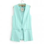 [Preorder] เสื้อคลุมแจ๊กเก็ตแฟชั่นแขนกุดแบรนด์ ASOS สีฟ้า 2013 autumn new zipper stitching in the same paragraph ASOS Long Slim suit jacket female waistcoat vest