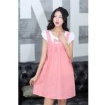 [Preorder] ชุดคลุมท้องสำหรับว่าที่คุณแม่ประดับโบว์ สีชมพู Cotton skirt pregnant women dress blue bow Maternity leave two short-sleeved summer Korean
