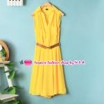 เดรสแขนกุดสีเหลืองพร้อมเข็มขัด Spring and summer fashion European style with a belt, sleeveless chiffon dress lapel Slim temperament vest dress