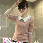 เสื้อแขนยาวแฟชั่นสีชมพู 2012 spring new Women lady pearl collar lapel long-sleeved sweater knitted cotton long-sleeved T-shirt