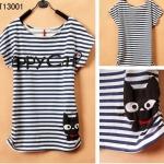 [Preorder] เสื้อยืดแฟชั่นแขนสั้นสกรีนลายแมวเหมียว Junior high school students every day special summer youth academy cute cartoon style girl T-shirt