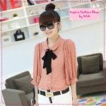 [Preorder] เสื้อแฟชั่นแขนยาวลายจุดสีชมพู 2012 new summer Korean wave point doll with chiffon shirt collar Department (3 colors)