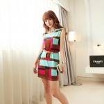 [Preorder] เดรสทำงานแฟชั่นแขนกุด ลาย geometric สีฟ้าน้ำตาล 2013 summer new Korean Women stretch pocket retro suit short-sleeved dress