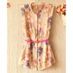 [Preorder] เสื้อชีฟองแฟชั่นแขนกุดลายดอกไม้ สีชมพู(พร้อมเข็มขัด) 2013 Amoi Korean version of Women in long shirt Women Floral Chiffon sleeveless shirt