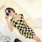 [Preorder] เดรสทำงานแฟชั่นแขนกุด ลายตาราง สีเหลืองน้ำเงิน 2013 summer new Korean Women stretch pocket retro suit short-sleeved dress