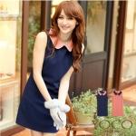 [พร้อมส่ง] เดรสแฟชั่นแขนกุดปกประดับไข่มุก สีน้ำเงิน Temperament decorated beads from films color vest dress