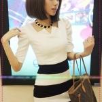 [Preorder] เดรสทำงานเข้ารูปแขนสามส่วนเข้ารูปสีขาวดำ new stripes stitching Slim # Korean version of Women Puff Sleeve Dress very significant figure