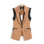 [Preorder] เสื้อสูทคลุมแขนกุด แบรนด์ Lily สีน้ำตาล LILY new fall 2013 women's European and American style spell color lapel collar blouses leisure suit vest waistcoat
