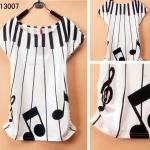 [Preorder] เสื้อยืดแฟชั่นแขนสั้นสกรีนลายมิวสิค Junior high school students every day special summer youth academy cute cartoon style girl T-shirt