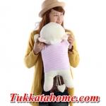 ตุ๊กตาหมีขี้อายหัวฟู นอนหลับหางเป็นรูปหัวใจ เสื้อลายสีชมพู ขนาด 48 CM