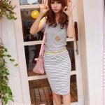 เดรสแฟชั่นแขนสั้นกระโปรงลายขวางสีเทา 2012 summer new Korean stripes spell receiving pockets hip A-shaped dress