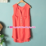 เสื้อแฟชั่นแขนกุดคอวีสีชมพู Summer new female Korean fashion V-neck sleeveless shirt candy color sleeveless wild shirt Code