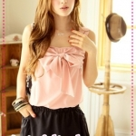 เดรสสายเดี่ยวกว้างสีชมพูอ่อน Spring and summer of 2012 the new Women Korean sweet bow lovely mixed colors sleeveless dress