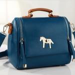 [Preorder] กระเป๋าแฟชั่นสะพายข้างสไตล์ retro สีน้ำเงิน 2013 new Korean candy colored retro pony female Shoulder Messenger bag tide