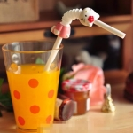 [Preorder] หลอดดูดน้ำ Hello Kitty 10 อัน / แพ็ค Cute Hello Kitty cartoon retractable curved straw doll drinking straw straw tube kt