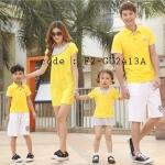 ชุดครอบครัว เสื้อครอบครัวผ้ายืด ชายคอปก หญิงเดรสสั้น ตัดต่อผ้าลายจุด สีเหลือง (ราคา 3 ตัว พ่อ แม่ ลูกสาว) - pre order
