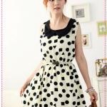 เดรสแฟชั่นสกรีนลายรูปทรงเลขาคณิตสีเบจ 2012 ING Hepburn breath. Geometric stitching dot chiffon skirt chiffon dress