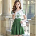 [Preorder] เดรสแฟชั่นแขนสั้นกระโปรงบาน ปักลายเก๋ๆ สีเขียว (ไซส์ S M L XL 2XL) 2015 Korean version of the new women's dress Slim thin short pleated skirt embroidered chiffon dress
