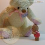 ตุ๊กตาหมีผ้าขนสั้นสีครีม ขนาด 17 cm. - Pearly