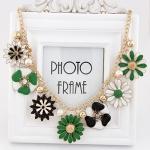 พร้อมส่งค่ะ Kate Spade Statement Style White and Green Posey Park Enamel Flower necklace