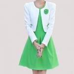 [Preorder] เดรสทำงานแฟชั่นแขนกุดสีเขียว + เสื้อคลุมแขนยาวประดับดอกไม้ (ไซส์ M L XL XXL) Early autumn 2014 autumn and winter women's two-piece dress suits long sleeve suit jacket Slim bottoming vest skirt