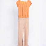 [Preorder] จั๊มสูทแฟชั่นแขนกุดแบรนด์ Lily สีส้ม 2013 summer new women's casual pants Europe OL spell color Slim 9 pleated pants jumpsuit