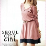 เดรสแขนยาวแฟชั่นสีชมพู 2012 new gentle nostalgic retro doll collar waisted splicing dress