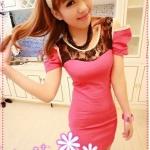 เดรสแฟชั่นแขนสั้นเปิดไหล่ประดับ ลูกไม้สีชมพู 2012 and summer of Korean version of the hollow strapless tight sexy package hip the lace nightclub dress