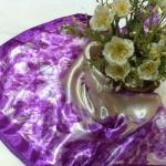 ผ้าพันคอ ผ้าคาดผมเนื้อไหมญี่ปุ่น : ลายดอกไม้สีม่วง