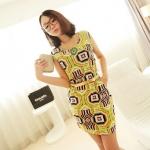 [Preorder] เดรสทำงานแฟชั่นแขนกุด ลาย polygonal สีเขียว 2013 summer new Korean Women stretch pocket retro suit short-sleeved dress