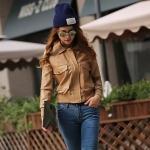 [Preorder] เสื้อแจ๊กเก็ตหนังแฟชั่นแขนยาวสไตล์ยุโรป สีน้ำตาล (ไซส์ S M L) US People 2015 new winter women's European leg of the high-end leather jacket zipper jacket leather jacket women