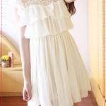 [Preorder] เดรสออกงานแฟชั่นแขนสั้นระบายชั้นๆสีขาว 2012 special section super fairy good quality lace stitching chiffon dress layers