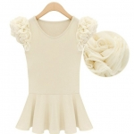 [Preorder] เสื้อแฟชั่นแขนสั้นประดับดอกไม้ชีฟองเก๋ๆ สีครีม 2013 new summer trend in Europe and the United States of disk flowers cotton short-sleeved T-shirt