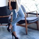 [Preorder] กางเกงขายาวแฟชั่นเข้ารูป สีฟ้า (ไซส์ S - XL) Spring loaded elastic wave little pencil pants feet pants pants pants female big yards
