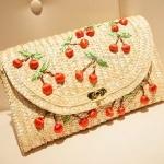[Preorder] กระเป๋าสานสะพายข้างประดับเชอรี่เก๋ๆ Love classic cute little cherry straw clutch three-dimensional chain bag