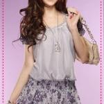 เดรสแฟชั่นผ้าชีฟองลายดอกไม้สีเทา chiffon velvet beautiful Blossoming of Maximo Oliveros butterfly knot dress