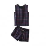 [Preorder] เซ็ทเสื้อแขนกุดแฟชั่นลายตาราง + กางเกงขาสั้นลายเดียวกับเสื้อ สีน้ำเงิน (ไซส์ S M L XL) 2015 summer new Korean fashion ladies small fragrant style sleeveless shirt + sub female casual shorts suit
