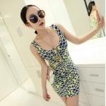 [Preorder] เดรสแฟชั่นแขนกุดสำหรับสาวไซส์เล็ก ลาย Geometrix สีน้ำเงินเหลือง 2013 summer new super wild multicolor Korean Women Long Vest