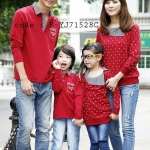 ชุดครอบครัว พ่อแม่ลูก เสื้อครอบครัวแขนยาว ลายหัวใจสีขาว สีแดง (ราคา 3 ตัว พ่อ แม่ ลูก) - pre order