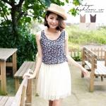 [Preorder] เดรสแฟชั่นแขนกุดลายดอกไม้ สีน้ำเงิน แบรนด์ Tokyo Fashion นำเข้าจากไต้หวัน The floral stitching veil sleeveless dress