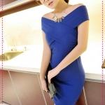 เดรสแฟชั่นเปิดไหล่สีน้ำเงิน JackGrace charm! Cross-wrapped shoulder sexy dress color