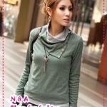 เสื้อแขนยาวคอสูงสีเขียว Korean Autumn new fake two-piece high-necked shirt