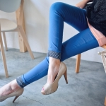 [Preorder] กางเกงขายาวแฟชั่นเข้ารูป สีน้ำเงิน (ไซส์ S - XL) Spring loaded elastic wave little pencil pants feet pants pants pants female big yards