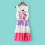 [Preorder] เดรสแฟชั่นแขนกุดสไตล์ยุโรปกระโปรงชั้นๆ ลายดอกไม้สีม่วง (ไซส์ M L) Europe and the United States stand in summer 2014 new Korean fashion ladies sleeveless chiffon dress vest dress spell color printing